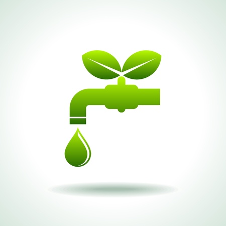 agua grifo: Icono verde salvar el medio ambiente y el concepto de agua Vectores