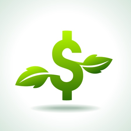 grow money: Green icon growing currency