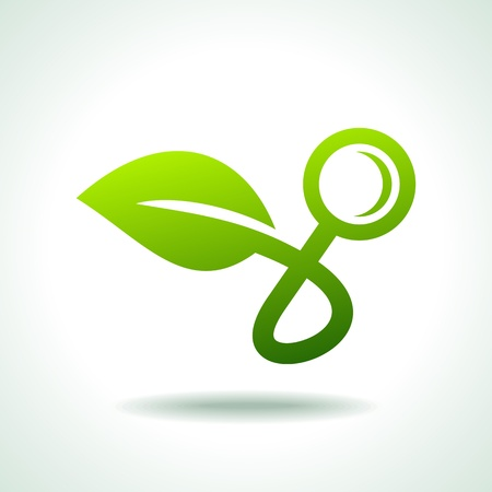 new plant: search icon of green energy Illustration