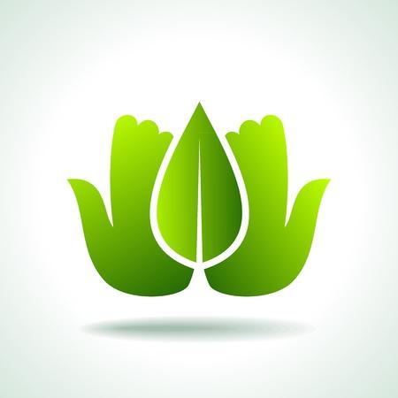 think green: Piense icono verde Concept Ecology