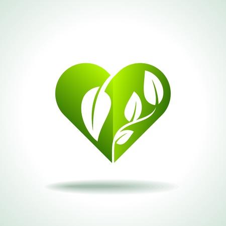 Eco amistoso Corazón concepto forma de la hoja