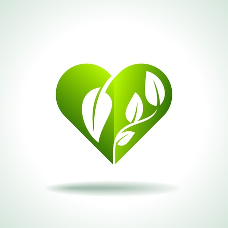Eco friendly concept  Heart leaf shape  Vector