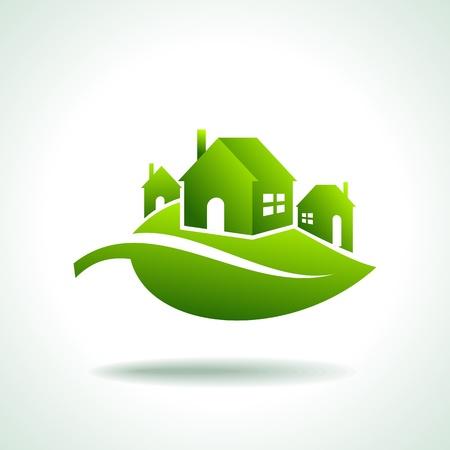 bioedilizia: Bio Green CASE ICONE Vettoriali