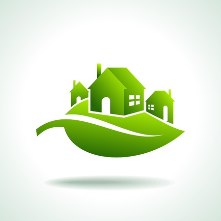 energ�as renovables: BIO ICONOS DE CASAS VERDES Vectores