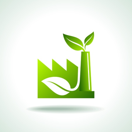 f�brica: ícone de energia verde para a indústria