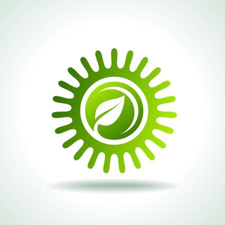 radiacion: etiquetas verdes amistosos del eco Vectores