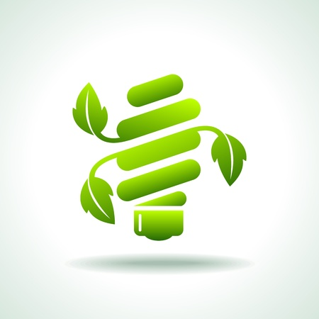 green power: ecological light-bulb icon  Illustration