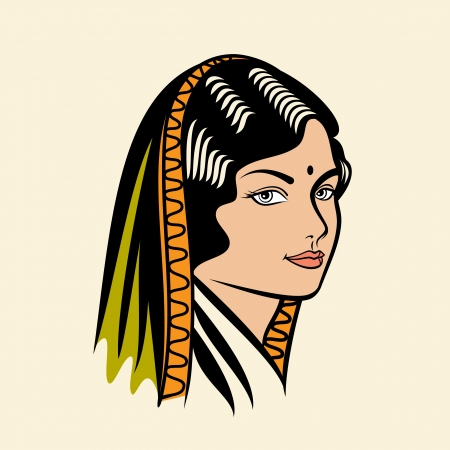 east indian: beautiful lady portrait Illustration