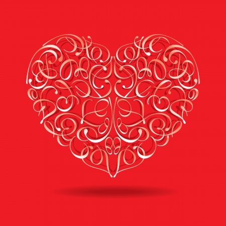 Greeting card with floral heart shape Vector