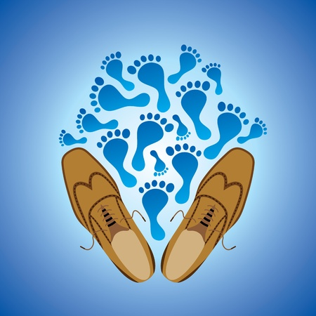 walking away: foot prints and illustration of pair of grungy shoe