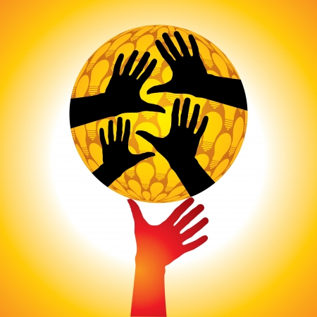 yearn: hand hold the globe idea