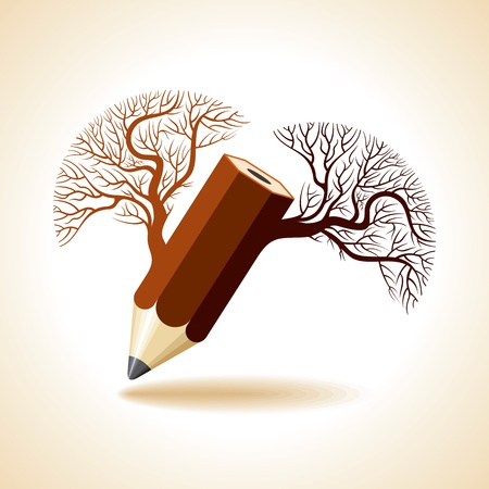 creative pencil tree branch  Vector