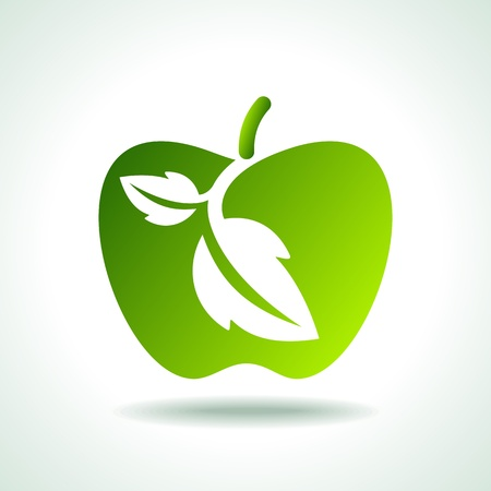 apple leaf: eco icon with apple