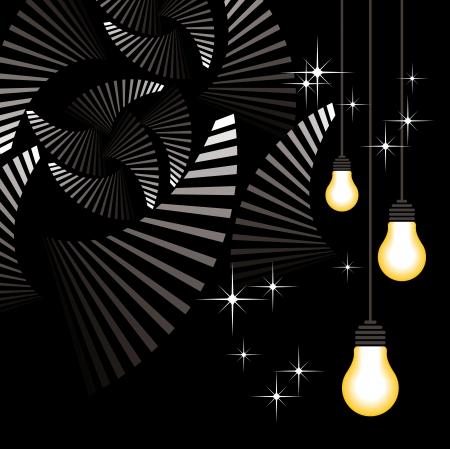 bulb hang on black background Stock Vector - 17628699