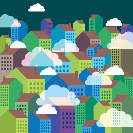 colorful city skyline Stock Vector - 17629244