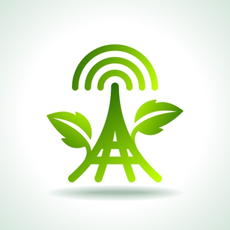 wireless tower: Green Ecology Icons of power