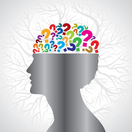brain work: Human head with question mark symbol   Illustration