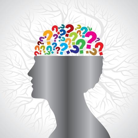 Menselijk hoofd met vraagteken-symbool