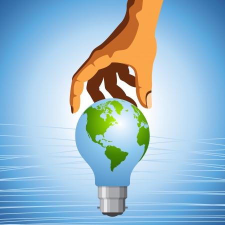 energy save: Eco symbol - save the earth