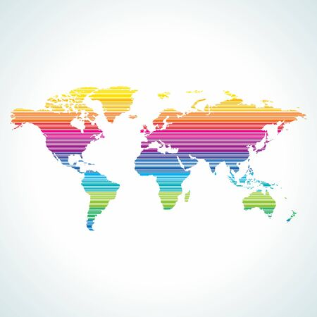 Digital world map design with stripe pattern  Vector