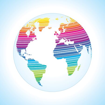 Digital world map design with stripe pattern  Stock Vector - 17628246