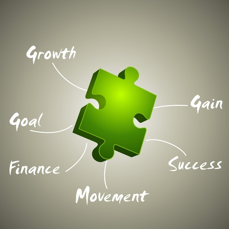 gain: growth, gain, goal illustration made from green puzzle  Illustration
