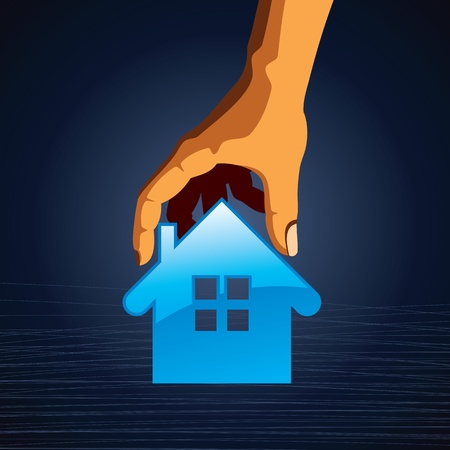 Little House on the hands  symbol of a successful real estate Stock Vector - 17084641