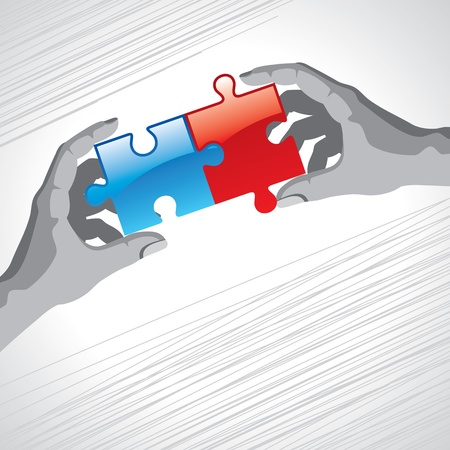 two object: Hands and puzzle  Business concept