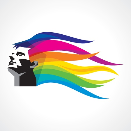 man with colorful hairs Vector