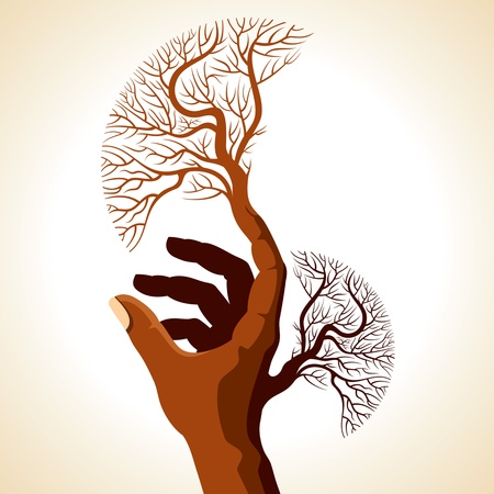 green environment: hand with creative tree Illustration