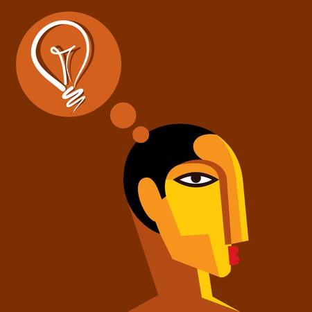 skulp: creative idea thinking a man