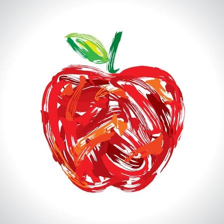 watercolour paintbrush: apple, making of painting Illustration