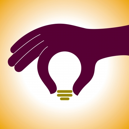 problem solving: bulb idea with human hand