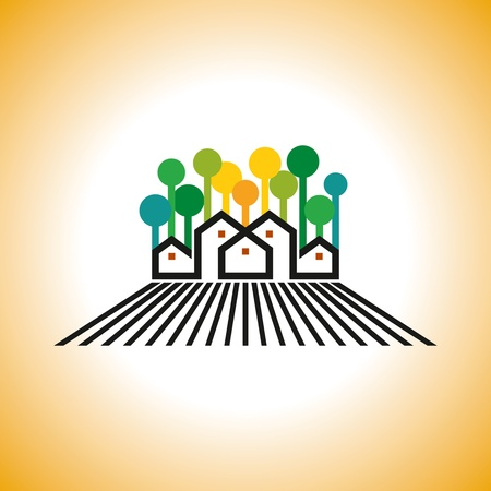 golden daisy: farm house vector