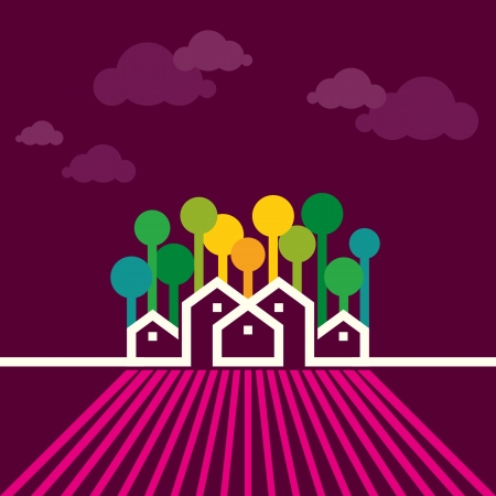 nice house: farm house vector