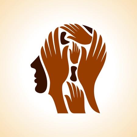 mente: cabeza humana pensando en una nueva idea