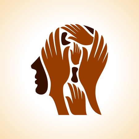creative mind: human head thinking a new idea