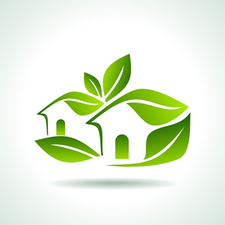 housing estate: Green home icon on white background