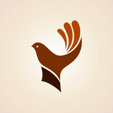 pomba: mão com pássaro idéia criativa