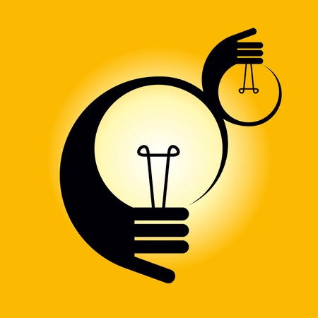 intuition: bulb idea with human hand