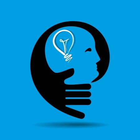 mental illness: human head thinking a new idea
