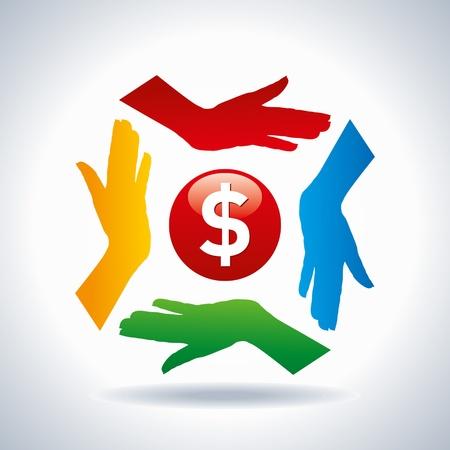 teamwork concept  save money Vector