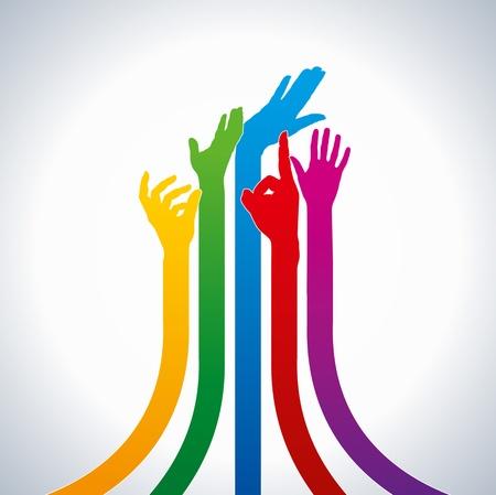 la union hace la fuerza: manos vectores de colores