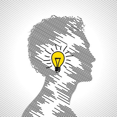 cerebro blanco y negro: idea concepto con cabeza humana
