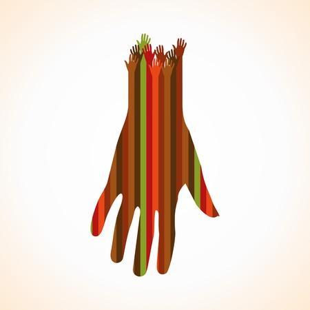 la union hace la fuerza: una palma con muchas manos Vectores