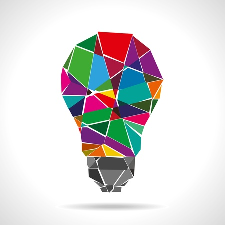 conceptual bulb: broken colorful idea