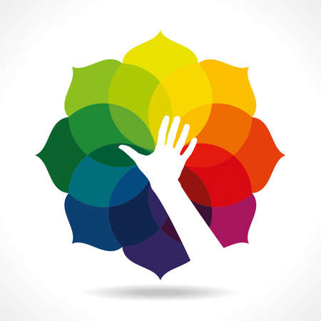 hands holding tree: color flower wheel with hand Illustration