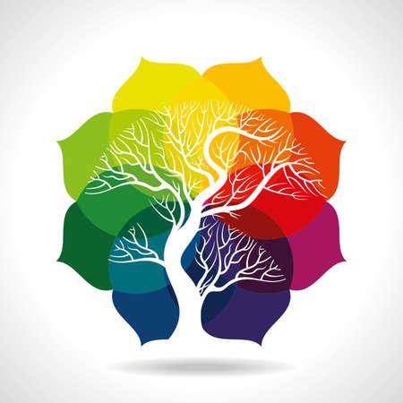 albero stilizzato: forma di foglia colorata di albero Vettoriali