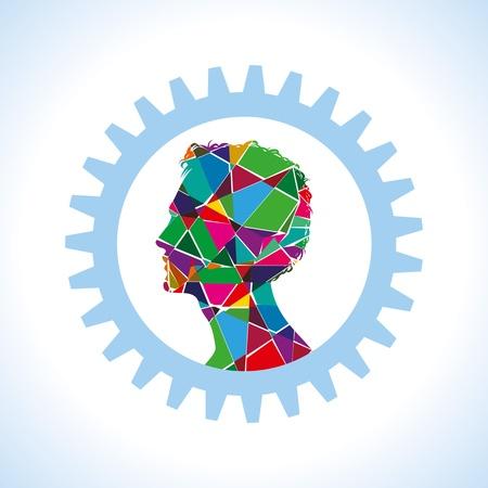 thinking machine: equipo fuera de la cabeza humana Vectores