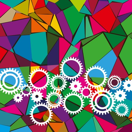 different colorful gears with abstract background Stock Vector - 18161260